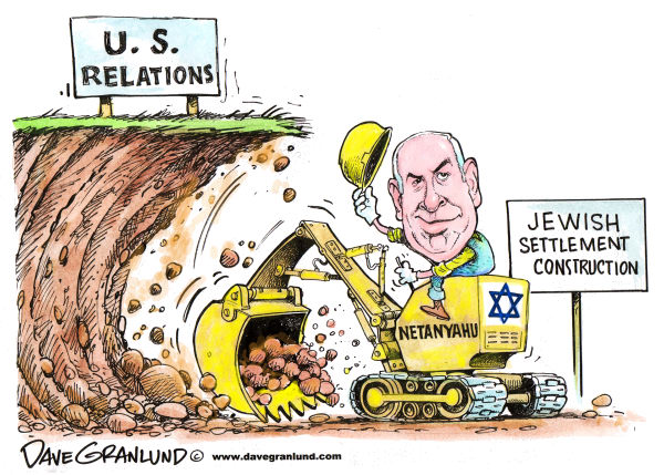 75827 600 US and Israel shaky relations cartoons