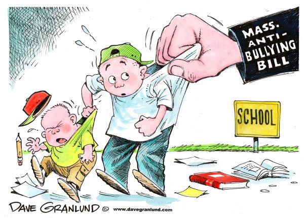 Massachusetts Anti-Bullying Bill © Dave Granlund,Politicalcartoons.com,massachusetts, bay state, mass, bully, bullies, bullying, bully law, bully bill, abuse, cyber-bullying, cyber-bullies, cyber-bully, brutes, victims, schools, school yards, busing, school bullies