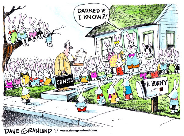 Census and the Easter Bunny © Dave Granlund,Politicalcartoons.com,Census, population, people count, census gathering, us census, easter, easter bunny, census taker, census-taker, rabbits, bunnies, offspring, residents