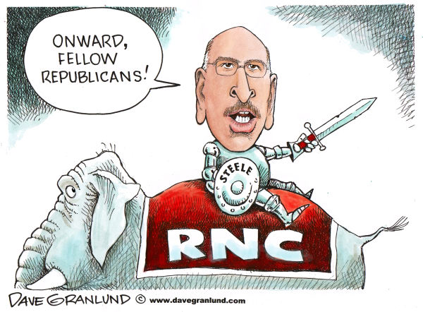 Dave Granlund - Politicalcartoons.com - Michael Steele and RNC - English - RNC, republican national committee, GOP, republican party, 2010, 2012, RNC fundraising, RNC chairman, bondage club, strip club, young eagles, conservatives, steele, michael steele
