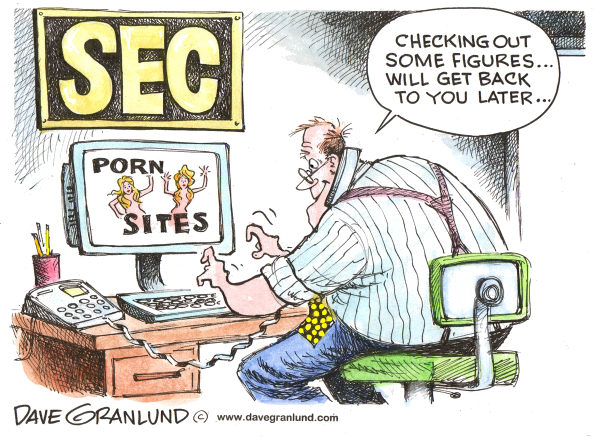 SEC porn scandal © Dave Granlund,Politicalcartoons.com,SEC, securities and exchange commission, pornography, porn, cyber-porn, scandal, wall street, watch dog, online porn, x-rated