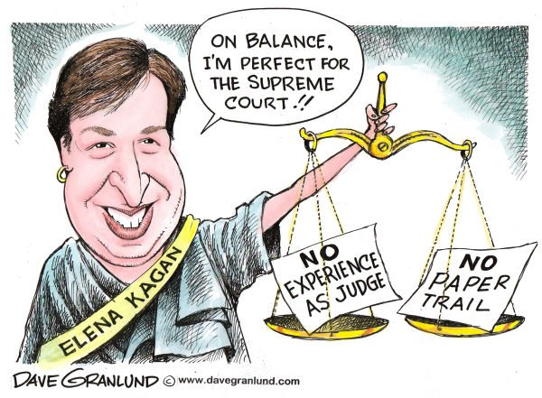 Dave Granlund - Politicalcartoons.com -  Kagan Supreme Court nominee - English - Kagan, Elena Kagan, Harvard dean, professor, supreme court justice, nominee, nomination, obama, selection, court, justice, law, senate confirmation,