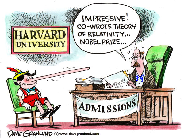 Harvard applicant fraud © Dave Granlund,Politicalcartoons.com,harvard, boston, applicant, harvard university, University, Harvard hoax, student, false records, college students, admissions office