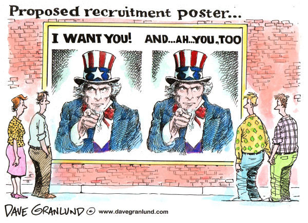 Dave Granlund - Politicalcartoons.com - Don't ask don't tell repeal plan - English - 		gay,gays,lesbians,homosexuals,military,service,dont ask dont tell,congress,pentagon,recruitment,army,USMC,armed forces