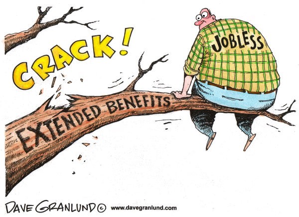 Extended jobless benefits © Dave Granlund,Politicalcartoons.com,jobs, out of work, unemployed, unemployment, job-seekers, business, checks, uneployment extension, long-term unemployed, workers