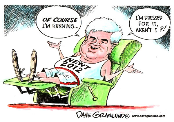 Newt Gingrich running in 2012 © Dave Granlund,Politicalcartoons.com,		 Newt,Gingrich,president,oval office,2012 campaign,GOP,republicans,republican,conservative,white house,running,campaign for president,executive,2012 election,November 2012