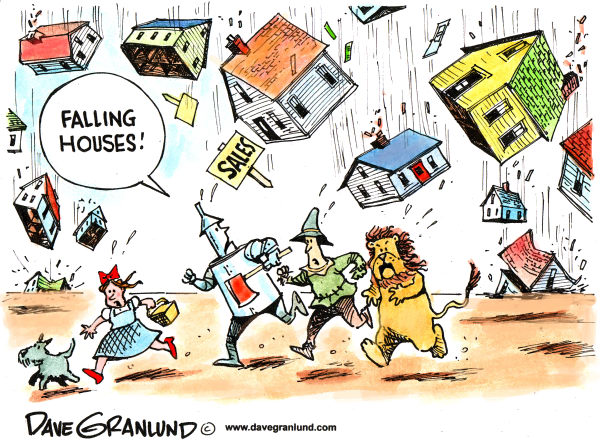 Home sales falling © Dave Granlund,Politicalcartoons.com,house sales, home sales, home prices, housing market, real estate, housing bubble, homebuyers, mortgages, buyers, sellers, home values