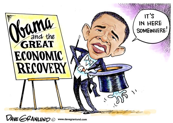 Obama and economic magic © Dave Granlund,Politicalcartoons.com,Obama, economy, jobs, economic recovery,economic reform, recession, stock market, chance, changes, barack obama, president, magic, stimulus, small business, hiring, unemployment, employment, fiscal, positive, negarive