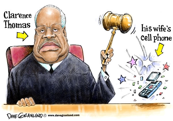 Dave Granlund - Politicalcartoons.com - Clarence Thomas and wife - English - justice thomas, anita hill, harrassment, sexual harrassment, clarence thomas, supreme court, apology, charges, wife, ginni thomas, no apology, conservative