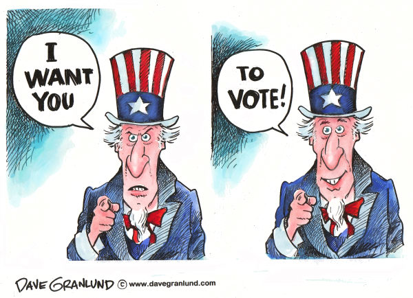 Dave Granlund - Politicalcartoons.com - Vote - English - Voters, uncle sam, sam, us, elections, choice, ballots, polls, right to vote, choose, candidates, ballot questions, election, 2010, 2012, vote, cast vote,