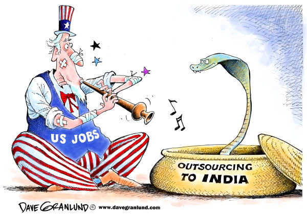 US Jobs and India © Dave Granlund,Politicalcartoons.com,India, US jobs, blue collar jobs, factories, US trade, recession, job losses, unemployment, employment, job creation, US workers, trade imbalance, outsourcing, outsourced
