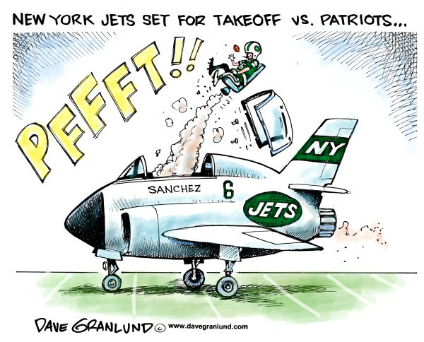 Jets vs Patriots Dec 6th © Dave Granlund,Politicalcartoons.com,Patriots, NFL, Sanchez, Brady, New England, Foxboro, New York, NY Jets, Football