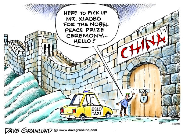 Nobel Peace Prize winner Xiaobo © Dave Granlund,Politicalcartoons.com,Nobel prize, 2010, Norway, Oslo, peace prize, Chinese, China, Communist china, Great wall, jailed