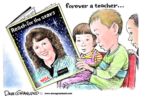 88342 600 Christa McAuliffe tribute cartoons