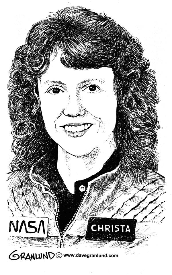 88352 600 Christa McAuliffe illustration cartoons