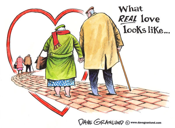 Valentine's Day and real love © Dave Granlund,Politicalcartoons.com,		Valentines day,Love,Heart,Old couple,elderly,romance,real love,friends,couple,senior citizens,seniors,retires