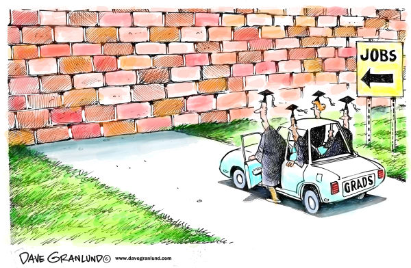 Grads and jobs © Dave Granlund,Politicalcartoons.com,Graduates, College grads, High School grads, young workers, job market, workers, job shortage, not hiring, no jobs, unemployment, college debt, degree, high tech jobs, white collar jobs, professionals, job creation, job openings