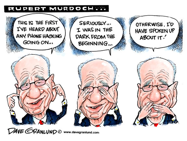 Rupert Murdoch blame game © Dave Granlund,Politicalcartoons.com,Murdock, Rupert Murdoch, Newcorp, News Corp, News of the world, Media, newspapers, corruption, crime, scandal, phone hacking, britian, london, tabloid, UK, payoffs, blame, empire, global, power, print media, probe, arrests
