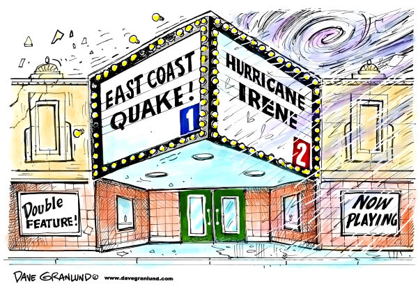 97276 600 Hurricane Irene and quake cartoons