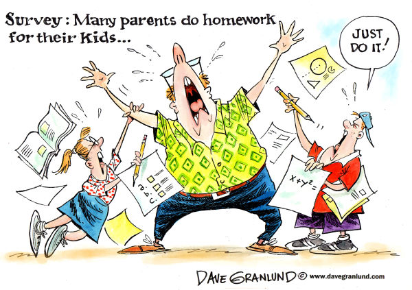 Homework and parents  © Dave Granlund,Politicalcartoons.com,Homework, parents, mom, dad, kids, students, help, cheating, workload, assignments, survey, demands, schoolwork, classes, stidy, studies