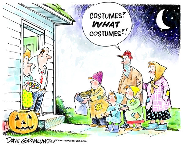 Halloween and homeless © Dave Granlund,Politicalcartoons.com,Halloween, trick or treat, candy, hungery, hunger, homeless, poor, lower income, needy, have nots, children, families, family, parents, us, usa, poverty, handouts, unemployed