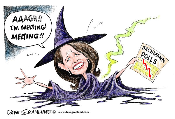 Bachmann poll numbers © Dave Granlund,Politicalcartoons.com,bachmann, Minn, Minnesota, GOP, 2012, candidate, michelle, michele, Rep, evangelical, right wing, conservative, ,polls drop, low numbers, single digits, staffers quit, NH, Iowa, caucus, election, primaries, primary, support, tea party, tea bagger