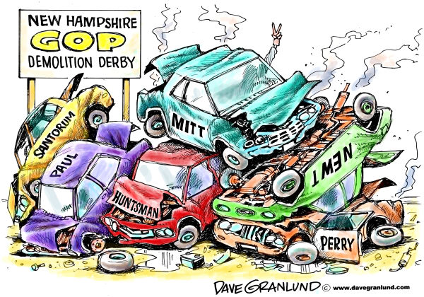 GOP demolition derby NH © Dave Granlund,Politicalcartoons.com,New Hampshire primary, voters, republicans, gop, 2012, election, primaries, candidates, paul, mitt, romney, newt, gingrich, santorum, perry, fighting, nasty, front runner, cars, demolish, clash, huntsman
