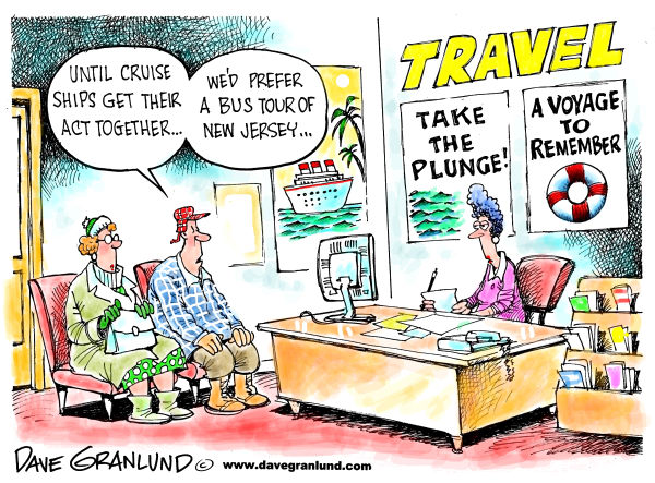 Cruise ship safety © Dave Granlund,Politicalcartoons.com,Cruise ship safety, Cruise lines, Med, Italy cruise, tourism, tourists, crew, captain, lifeboats, titanic, sinking, capsize, drownings, fatalities, fatal, victims, missing, rescue, training, abandon ship, panic, deaths, crime arrest, manslaughter