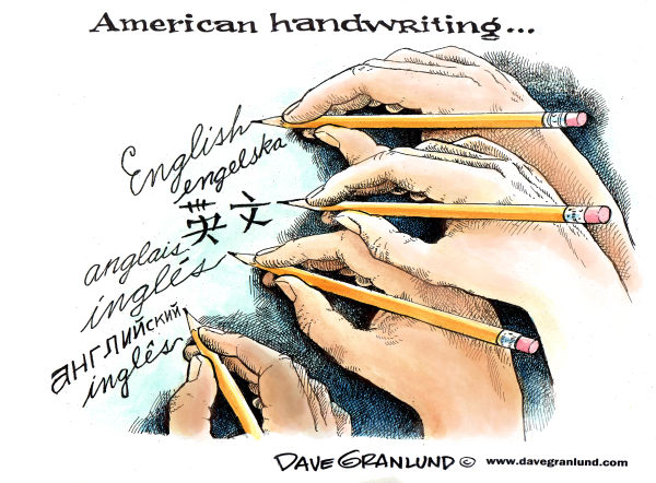 American handwriting © Dave Granlund,Politicalcartoons.com,Handwriting, Language, official language, diversity, USA, US, America, spoken language, english, spanish, russian, chinese, swedish, hands, writing, multi-cultural, ethnic,