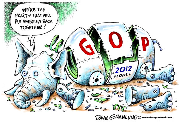 GOP apart © Dave Granlund,Politicalcartoons.com,gop, republicans, republican, conservative, cracks, apart, primary, candidates, pieces, right, ultra-right, extreme right, tea party, election, congress, house, senate, 2012, presidential,