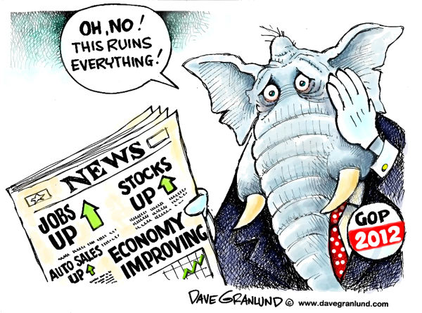Dave Granlund - Politicalcartoons.com - GOP and positive news - English - Republicans, elections, economy, voters, GOP, improving economy, jobs, auto sales, stocks, stock market, business, US economy, sales, gains, improvements, rising, up, stocks up, jobs up, upward