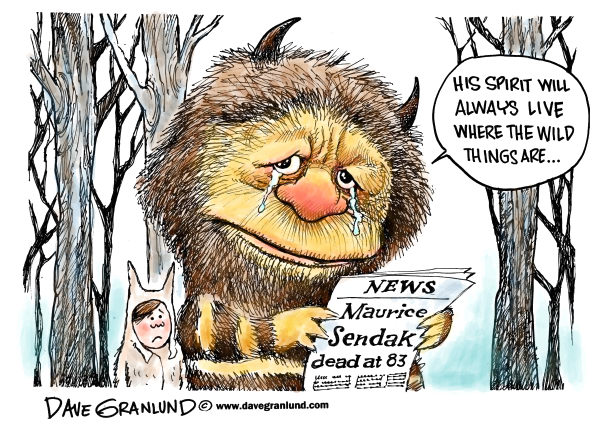 Maurice Sendak dies © Dave Granlund,Politicalcartoons.com,Maurice Sendak, obituary, dead, death, author, childrens author, Where the wild things are, wild things, books, book, writer, illustrator