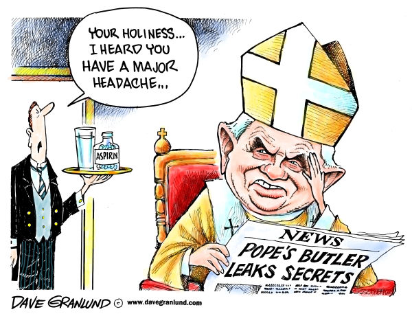Dave Granlund - Politicalcartoons.com - Pope and butler scandal - English - Pope, Rome, Catholic, Vatican, secrets, theft, leak, leaking, documents, popes butler, pope benedict, secret documents, arrest