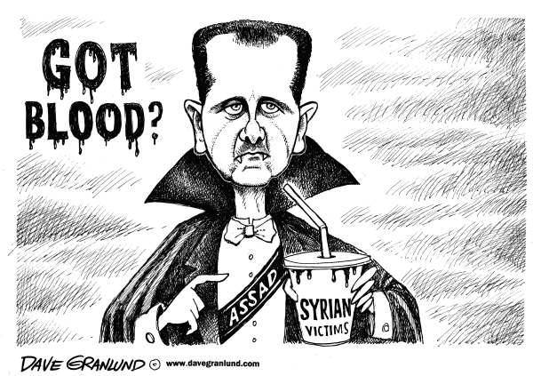 Dave Granlund - Politicalcartoons.com - Assad and Syrian blood - English - Assad, Syria, syrian, bloodshed, victims, massacre, children, women, civilians, slaughter, vampire, killings, butcher