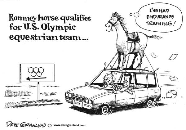 Dave Granlund - Politicalcartoons.com - Romney horse in Olympics - English - Romney, horse, olympics, equestrian, Ann Romney, dog on roof, car, animals, pets, us olympic team, mitt