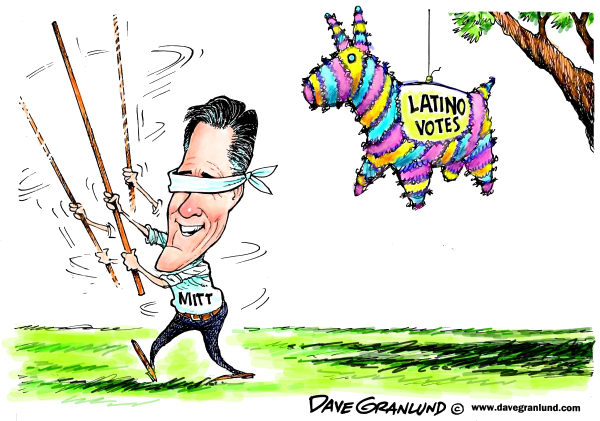 Romney and Latino votes © Dave Granlund,Politicalcartoons.com,mitt, romney, gop, republican, conservative, illegal aliens, immigration, undocumented, Latino, Hispanic, voters, election,2012, presidential, race,