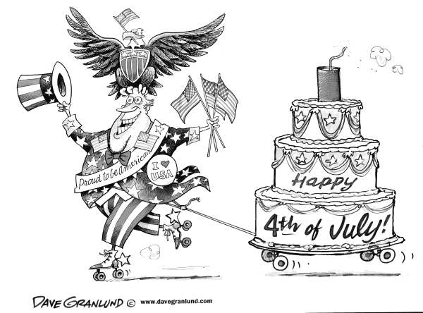 Dave Granlund - Politicalcartoons.com - Happy Fourth of July - English - Independence day, July 4th, Birthday, USA, patriotism, American, pride, flag, old glory, eagle, stars and striped, birthday cake, roller skates, US, declaration