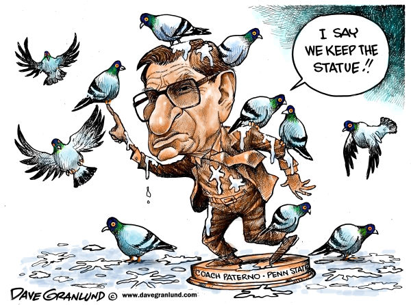 Joe Paterno statue © Dave Granlund,Politicalcartoons.com,joe paterno, Penn State, football, coach, scandal, child molestation, child rape, statue fate, gridiron, legacy, sandusky