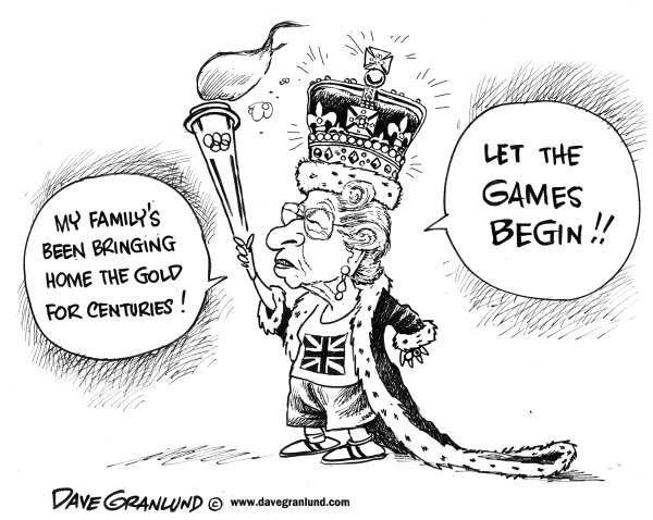 Dave Granlund - Politicalcartoons.com - Olympic Gold - English - Olympics, London, UK, England, Queen, Elizabeth,torch, games, international, summer games