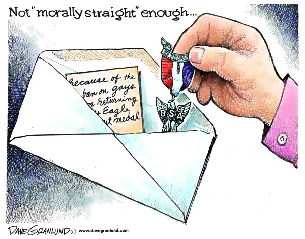 Dave Granlund - Politicalcartoons.com - Boy Scouts anti-gay - English - BSA, scouting, gays, ban, eagle scouts, eagle badge, eagle scout, boys, discrimination, anti-gay