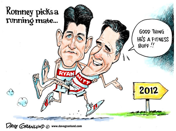 Dave Granlund - Politicalcartoons.com - Romney and Ryan GOP ticket - English - gop, romney, mitt, paul ryan, republicans, republican, running mate, team, fitness buff, election, campaign, race, conservative, right, wi, wisconsin, rep ryan, vp, pick, choice