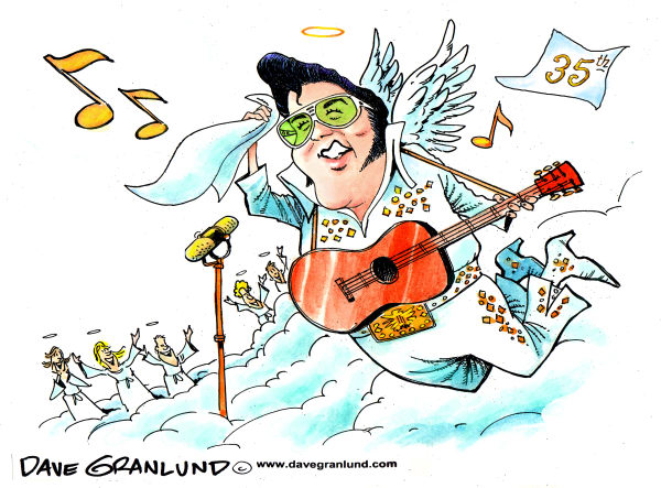 Dave Granlund - Politicalcartoons.com - Elvis Presley 35th - English - Elvis, Presley, rock and roll, king, the king, death, anniversary, 35 years, died, music, legend, guitar