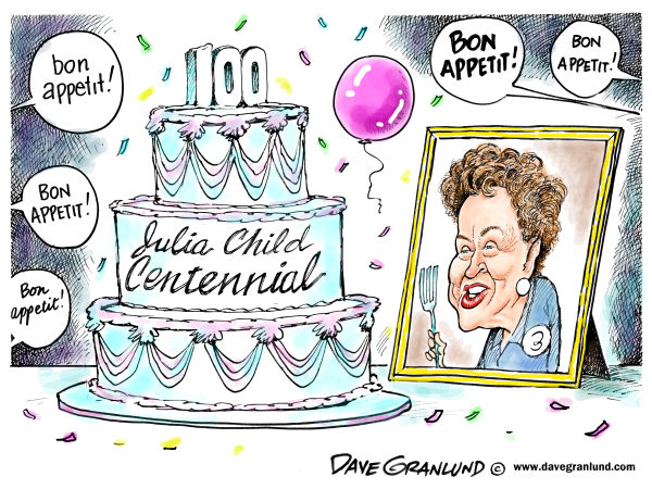 Dave Granlund - Politicalcartoons.com - Julia Child centennial - English - Julia Child, cooking, legend, TV, 100, centennial, bon appetit