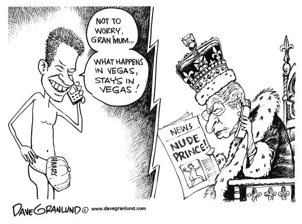 Dave Granlund - Politicalcartoons.com - Prince Harry in Vegas - English - Harry, nude, photos, Royal, UK, Vegas, las Vegas, Nevada, romp, Queen, England,