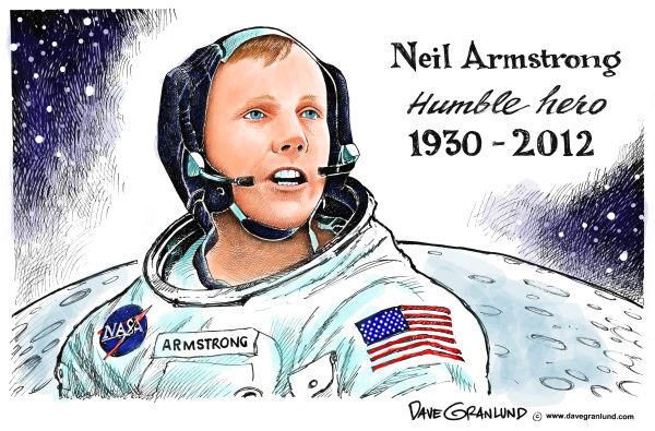 Dave Granlund - Politicalcartoons.com - Neil Armstrong tribute - English - Neil Armstrong, Apollo 11, Eagle, moon landing, first on moon, one small step, giant leap, lunar, NASA, space race, 1969, july 1969, hero, space, spaceflight
