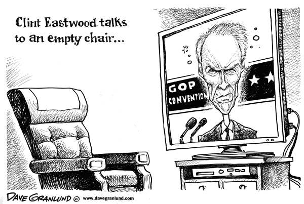 Dave Granlund - Politicalcartoons.com - Eastwood  & GOP convention - English - 		 empty chair,speech,Clint Eastwood,GOP convention,Tampa convention,talks to empty chair,hollywood,dirty harry,good bad ugly,fist full of dollars,make my day,do you feel lucky,republicans,2012,Romney,voters,viewers
