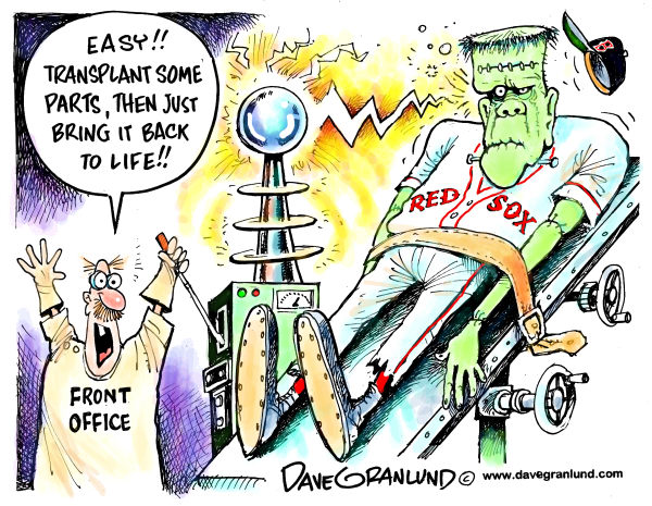 Dave Granlund - Politicalcartoons.com - Rebuilding Red Sox - English - Red Sox, bad year, new blood, team MLB, baseball, Boston, Fenway, new england, transplants, cleaning house, trades
