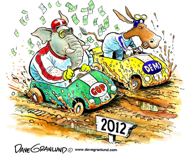 Dave Granlund - Politicalcartoons.com - Race 2012 final lap - English - Nov 6, election 2012, oval office, mud, money, pacs, dems, gop, Democrats, elephant, donkey, finish line, Obama, mitt, romney, liberals, conservatives, ploitics