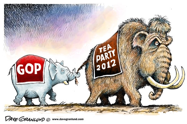 Dave Granlund - Politicalcartoons.com - GOP and Tea Party - English - Republicans, elephant, mammoth, wooly mammoth,leading, conservatives, tea baggers, right wing, extreme right, GOP, following, tail