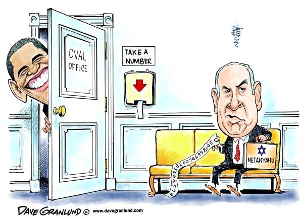 Dave Granlund - Politicalcartoons.com - Obama snubs Netanyahu - English - netanyahu, israel, israeli, jewish, snub, avoids, oval office, white house Obama, visit, schedule, iran, red line, draw red line, meeting, politics, pressure, appointment